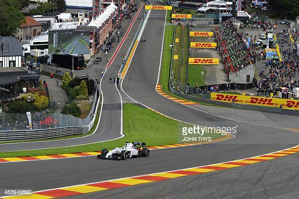 Williams' Brazilian driver Felipe Massa drives during the first practice session at the SpaFrancorchamps circuit in Spa on August 22 2014 ahead of...