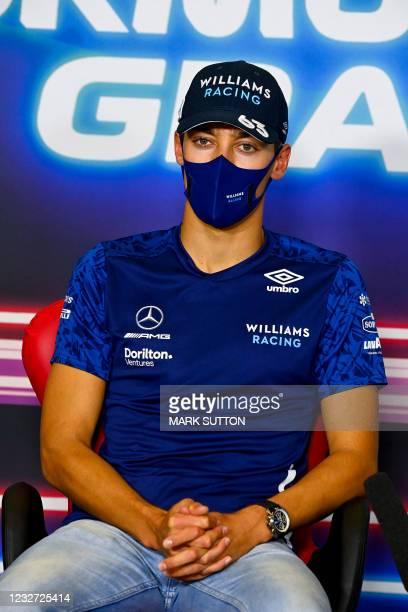 Williams' British driver George Russell gives a press conference at the Circuit de Catalunya on May 6, 2021 in Montmelo on the outskirts of...