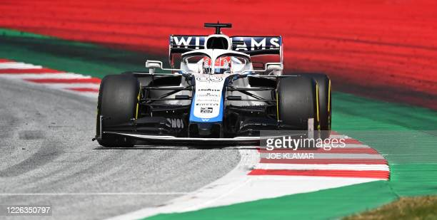 Williams' British driver George Russell steers his car during the Formula One Styrian Grand Prix race on July 12, 2020 in Spielberg, Austria.