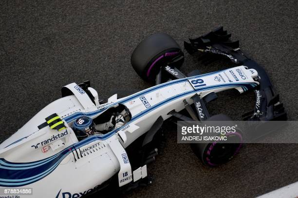 Williams' Canadian driver Lance Stroll drives during the first practice session ahead of the Abu Dhabi Formula One Grand Prix at the Yas Marina...