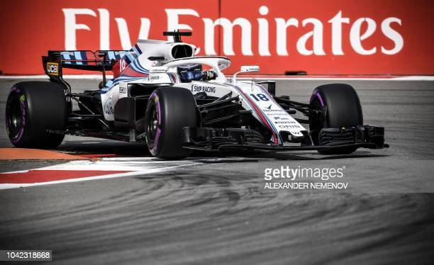 TOPSHOT Williams' Canadian driver Lance Stroll steers his car during the first practice session of the Formula One Russian Grand Prix at the Sochi...