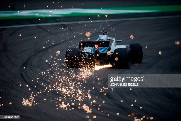 Williams' Canadian driver Lance Stroll steers his car during the qualifying session for the Formula One Chinese Grand Prix in Shanghai on April 14...
