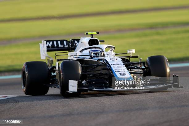 Williams' Canadian driver Nicholas Latifi drives during the second practice session ahead of the Abu Dhabi Formula One Grand Prix at the Yas Marina...