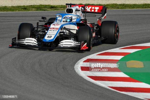 Williams' Canadian driver Nicholas Latifi drives during the tests for the new Formula One Grand Prix season at the Circuit de Catalunya in Montmelo...