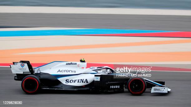 Williams' Canadian driver Nicholas Latifi drives during the third practice session on the eve of the Bahrain Formula One Grand Prix at the Bahrain...
