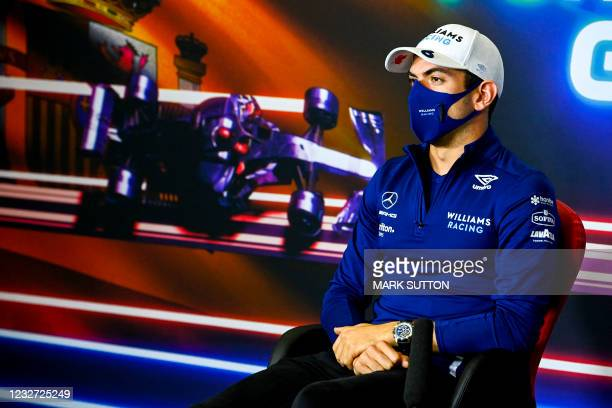 Williams' Canadian driver Nicholas Latifi gives a press conference at the Circuit de Catalunya on May 6, 2021 in Montmelo on the outskirts of...