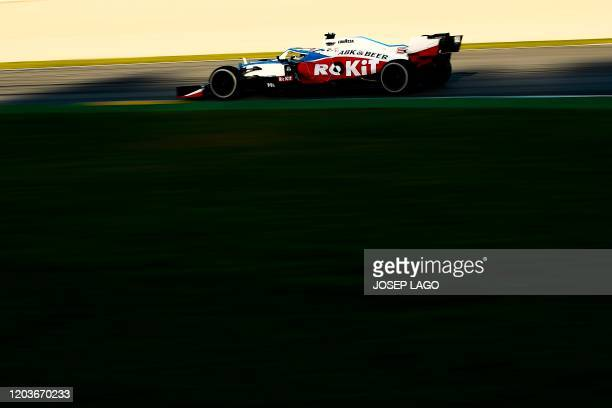 Williams' Canadian driver Nicholas Latifi takes part in the tests for the new Formula One Grand Prix season at the Circuit de Catalunya in Montmelo...