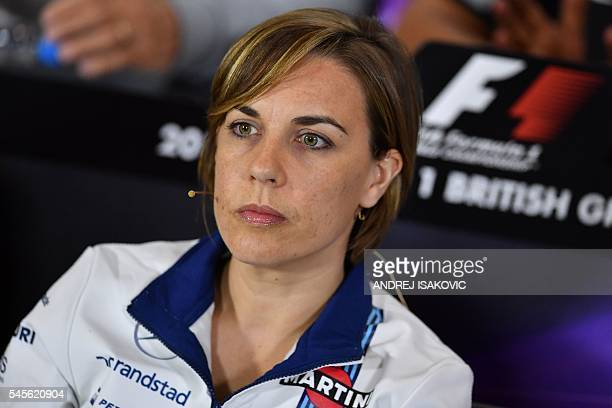 Williams' deputy team principal and commercial director Claire Williams attends a press conference following the second practice session at...