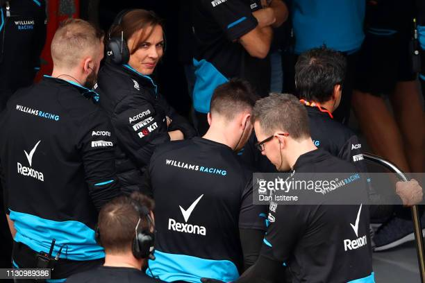 Williams Deputy Team Principal Claire Williams and the Williams team congratulate each other after running their car during day three of F1 Winter...