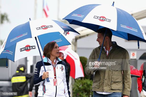 Williams Deputy Team Principal Claire Williams arrives at the circuit with husband Marc Harris before practice for the Formula One Grand Prix of...