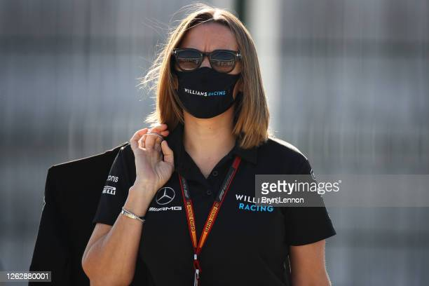 Williams Deputy Team Principal Claire Williams arrives at the circuit before practice for the F1 Grand Prix of Great Britain at Silverstone on July...