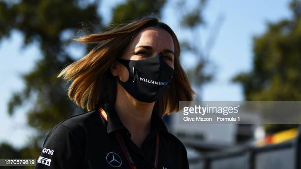 Williams Deputy Team Principal Claire Williams arrives at the circuit ahead of practice for the F1 Grand Prix of Italy at Autodromo di Monza on...