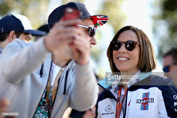 Williams Deputy Team Principal Claire Williams arrives at the circuit and poses for a photo with a fan during previews ahead of the Australian...