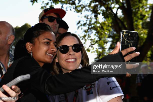 Williams Deputy Team Principal Claire Williams arrives at the circuit and poses for a photo before practice for the Australian Formula One Grand Prix...