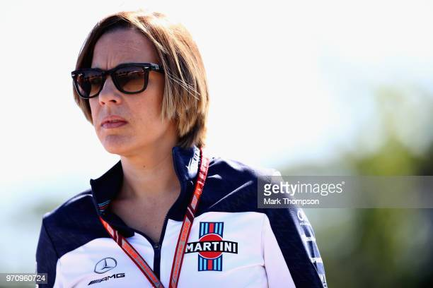 Williams Deputy Team Principal Claire Williams arrives at the circuit before the Canadian Formula One Grand Prix at Circuit Gilles Villeneuve on June...