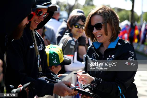 Williams Deputy Team Principal Claire Williams arrives at the track and signs autographs for fans during previews ahead of the F1 Grand Prix of...