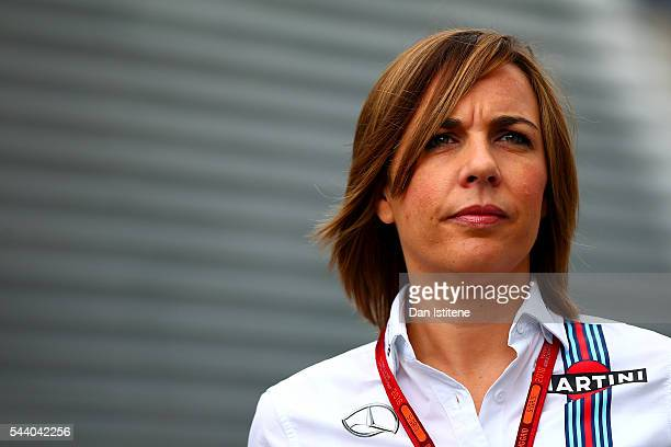 Williams Deputy Team Principal Claire Williams arrives in the paddock before practice for the Formula One Grand Prix of Austria at Red Bull Ring on...
