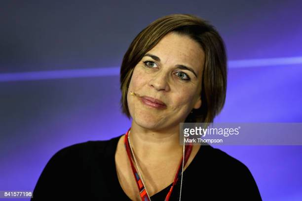 Williams Deputy Team Principal Claire Williams in the Team Principals Press Conference during practice for the Formula One Grand Prix of Italy at...