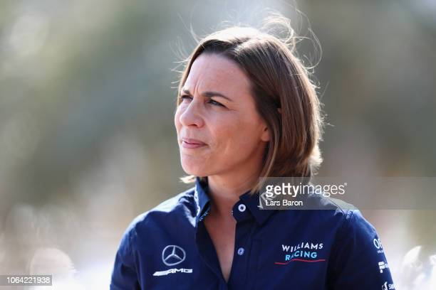 Williams Deputy Team Principal Claire Williams looks on as Robert Kubica of Poland and Williams is announced as a Williams F1 driver for the 2019 F1...