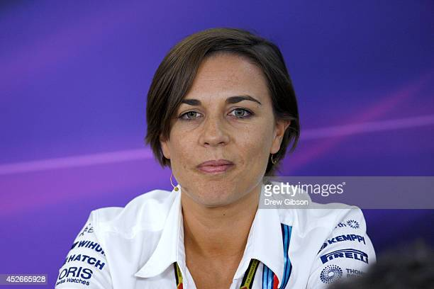 Williams deputy team principal Claire Williams looks on during a press conference after practice ahead of the Hungarian Formula One Grand Prix at...
