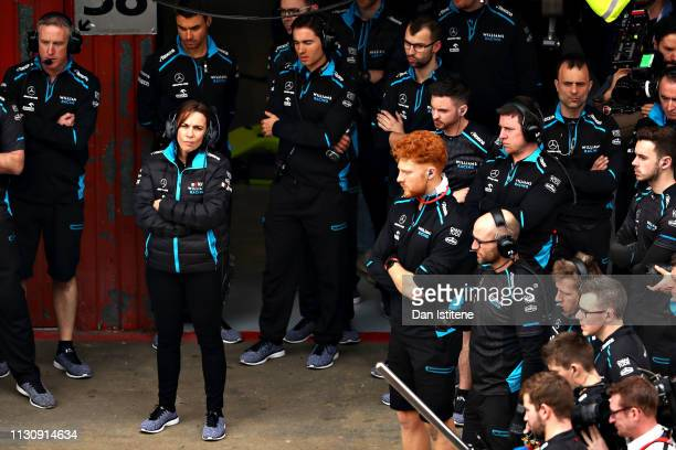 Williams Deputy Team Principal Claire Williams looks on from the garage during day three of F1 Winter Testing at Circuit de Catalunya on February 20,...