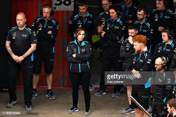 Williams Deputy Team Principal Claire Williams looks on from the garage during day three of F1 Winter Testing at Circuit de Catalunya on February 20...
