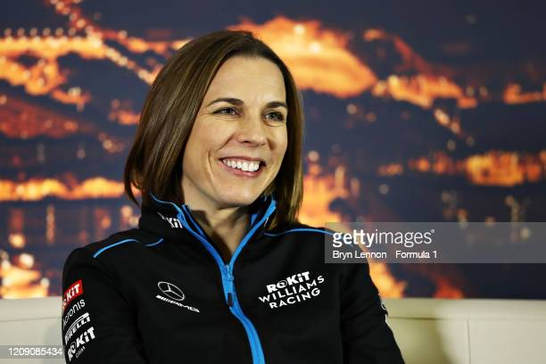 Williams Deputy Team Principal Claire Williams looks on in a press conference during Day Two of F1 Winter Testing at Circuit de BarcelonaCatalunya on...