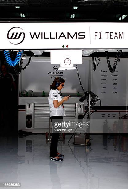 Williams Deputy Team Principal Claire Williams looks on in the garage during practice for the Bahrain Formula One Grand Prix at the Bahrain...