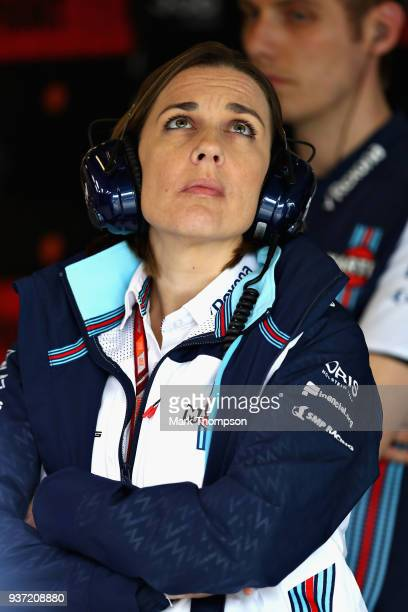 Williams Deputy Team Principal Claire Williams looks on in the garage during final practice for the Australian Formula One Grand Prix at Albert Park...