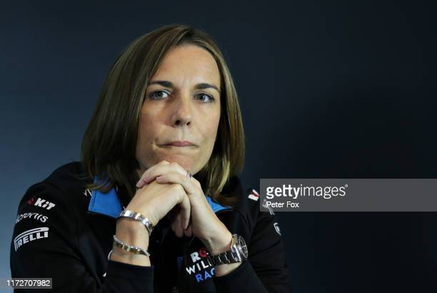 Williams Deputy Team Principal Claire Williams looks on in the Team Principals Press Conference during practice for the F1 Grand Prix of Italy at...