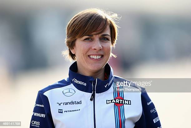 Williams Deputy Team Principal Claire Williams smiles as she walks through the paddock after practice for the Formula One Grand Prix of China at...