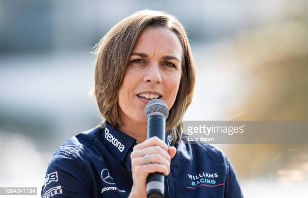 Williams Deputy Team Principal Claire Williams talks as Robert Kubica of Poland and Williams is announced as a Williams F1 driver for the 2019 F1...