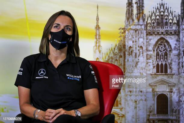 Williams Deputy Team Principal Claire Williams talks in a press conference during practice for the F1 Grand Prix of Italy at Autodromo di Monza on...