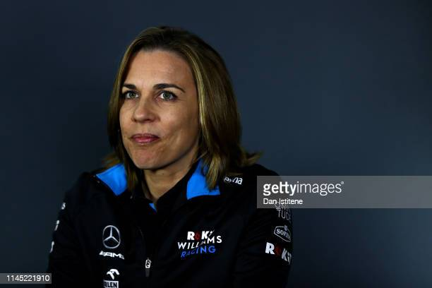 Williams Deputy Team Principal Claire Williams talks in the Team Principals Press Conference during practice for the F1 Grand Prix of Azerbaijan at...