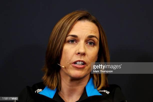 Williams Deputy Team Principal Claire Williams talks in the Team Principals Press Conference during practice for the F1 Grand Prix of Monaco at...