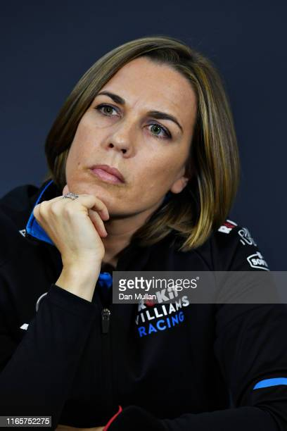 Williams Deputy Team Principal Claire Williams talks in the Team Principals Press Conference during practice for the F1 Grand Prix of Hungary at...