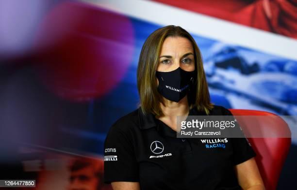 Williams Deputy Team Principal Claire Williams talks in the Team Principals Press Conference during practice for the F1 70th Anniversary Grand Prix...