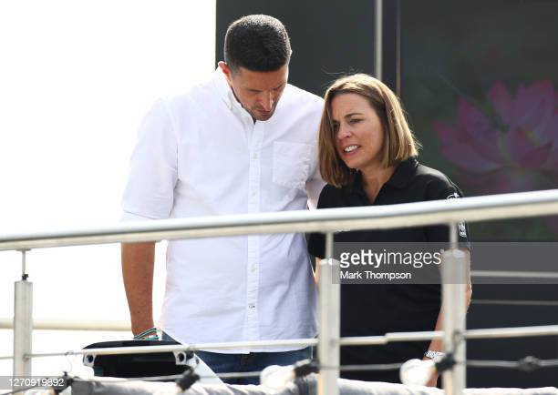 Williams Deputy Team Principal Claire Williams talks with husband Marc Harris before the F1 Grand Prix of Italy at Autodromo di Monza on September 06...