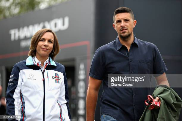 Williams Deputy Team Principal Claire Williams walks in the Paddock with husband Marc Harris before practice for the Formula One Grand Prix of...
