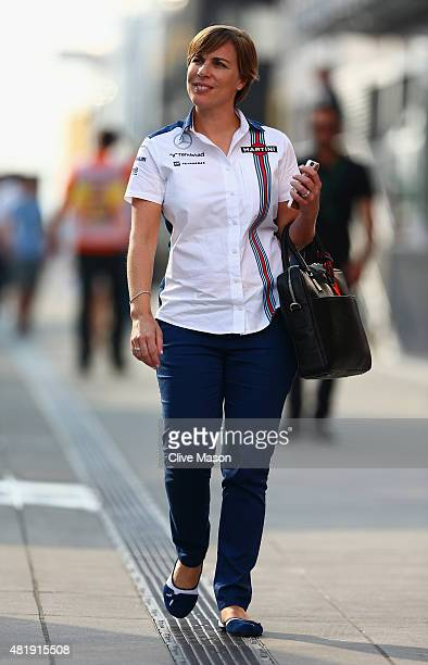 Williams Deputy Team Principal Claire Williams walks in the paddock after qualifying for the Formula One Grand Prix of Hungary at Hungaroring on July...