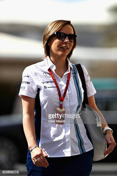 Williams Deputy Team Principal Claire Williams walks in the Paddock before final practice for the Abu Dhabi Formula One Grand Prix at Yas Marina...