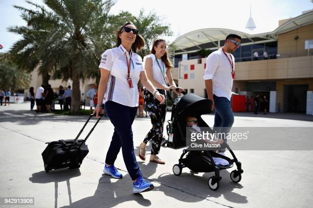 Williams Deputy Team Principal Claire Williams walks in the Paddock with husband Marc Harris before final practice for the Bahrain Formula One Grand...