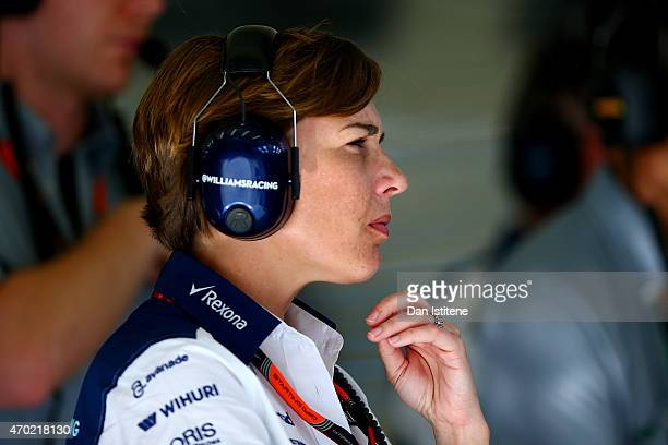 Williams Deputy Team Principal Claire Williams watches the action from the garage during final practice for the Bahrain Formula One Grand Prix at...