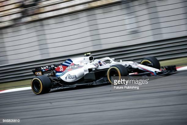 Williams' driver Sergey Sirotkin of Russia steers his cars during a practice session for the 2018 Formula 1 Chinese Grand Prix at the Shanghai...