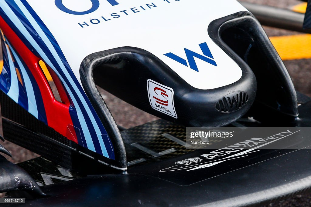 Williams F1 Mercedes FW41front wing detail of Ayrton Senna sticker ...