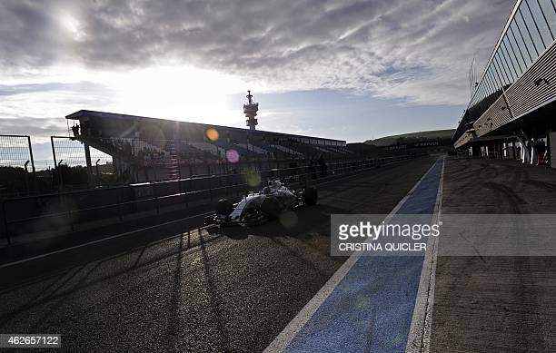 Williams F1 Team's Finnish Valtteri Bottas drives on the second day of the Formula One preseason tests at Jerez racetrack in Jerez on February 2 2015...