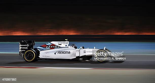 Williams Martini Racing Finnish driver Valtteri Bottas drives during the Formula One Bahrain Grand Prix at the Sakhir circuit in the desert south of...