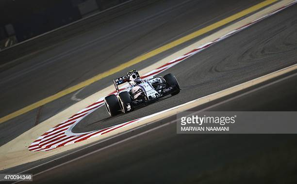 Williams Martini Racing Finnish driver Valtteri Bottas drives his car during the 2nd practice session on April 17 2015 ahead of the weekend's Formula...
