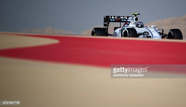 Williams Martini Racing Finnish driver Valtteri Bottas drives his car during the third practice session ahead of the Formula One Bahrain Grand Prix...