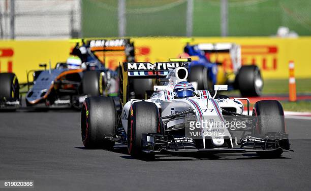 Williams Martini Racing Finnish driver Valtteri Bottas drives his car during the Formula One Mexico Grand Prix third practice session at the Hermanos...